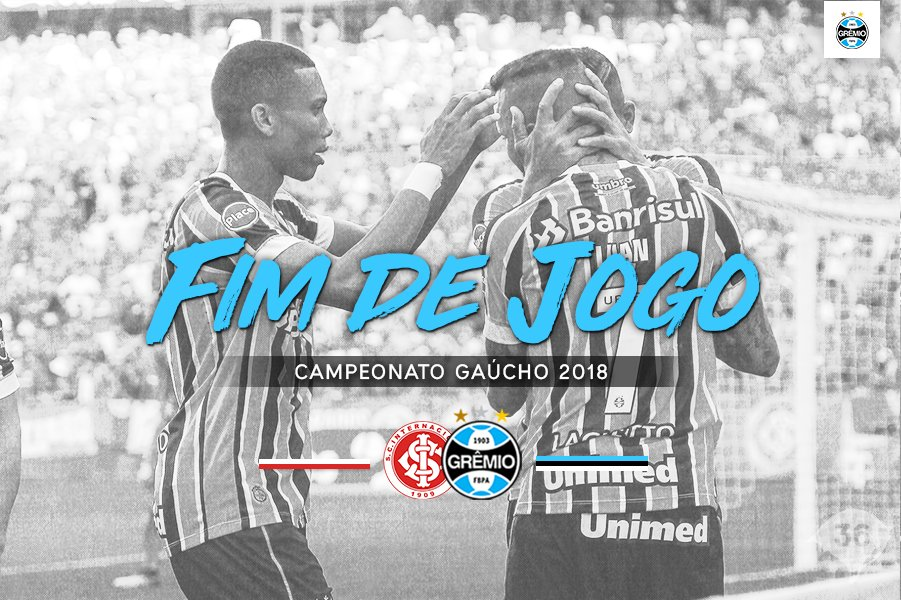Fim de jogo: @SCInternacional 1x2 #Grêmio Com dois gols de Luan, vencemos e estamos classificados para a próxima fase do #Gauchão2018! Enfrentamos o Internacional nas quartas de final do campeonato, nos dias 18 e 21 de março. ⚽️🇪🇪💪 #GreNal413  #VamosTricolor