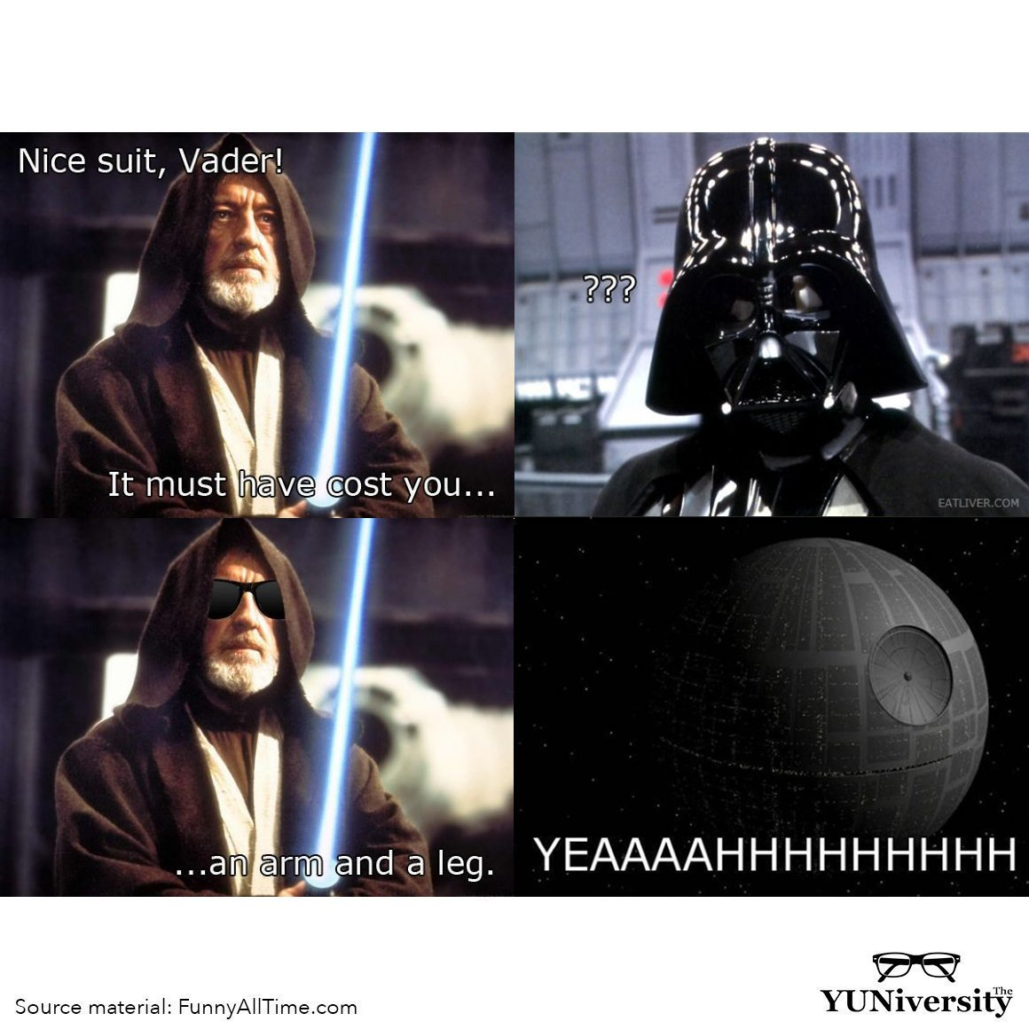 """An arm and a leg"" = a lot of money; an excessively high cost 💸 Darth Vader's suit cost him *an arm and a leg*. #idiom #punny 🤣"