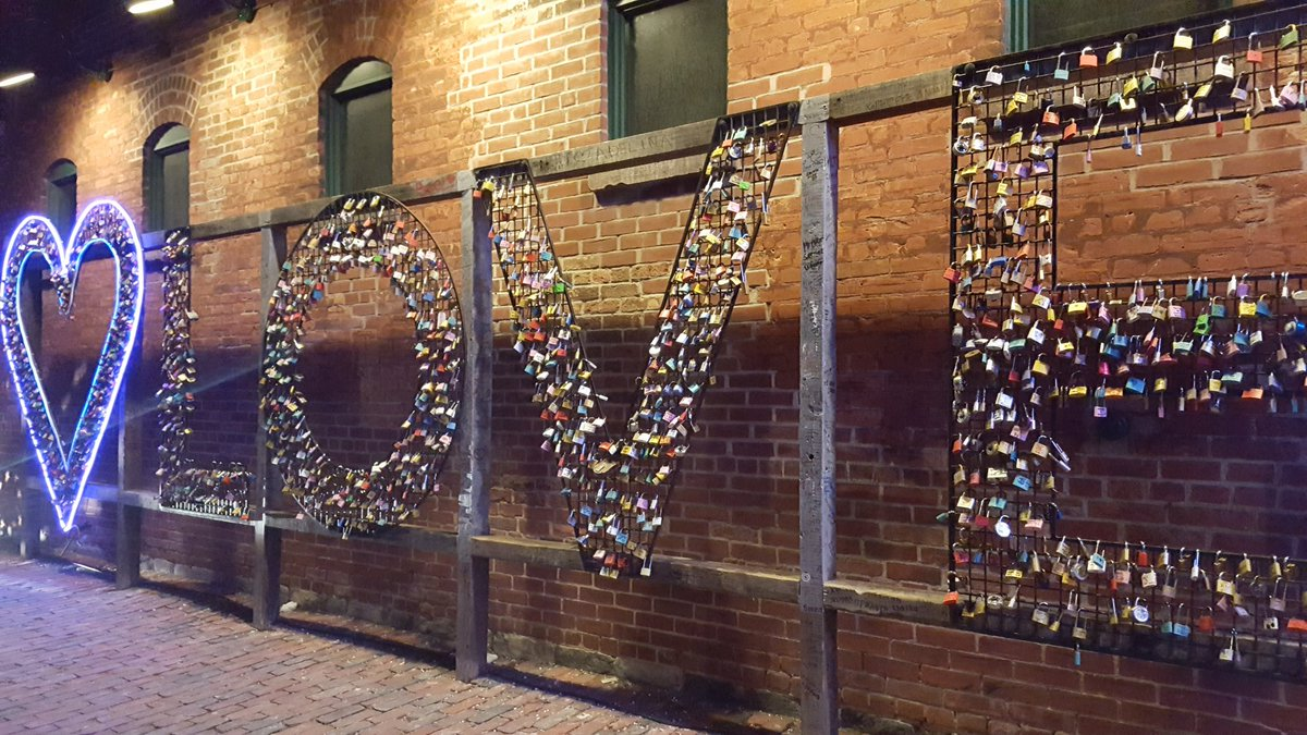 """A """"LOVE"""" sign aglow in lights"""