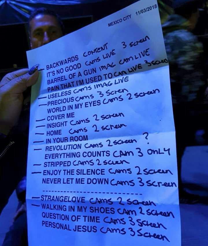Set List #DepecheModeMeXico #DepecheMode...