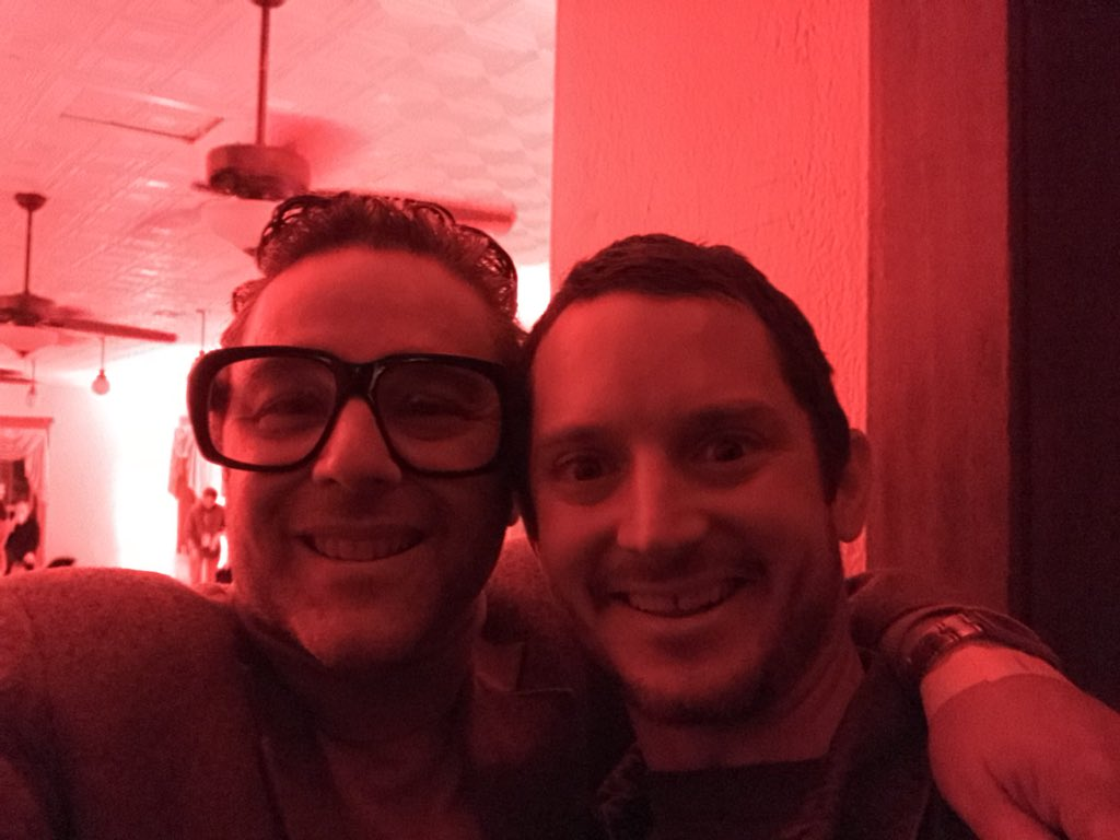 Amazing to have @elijahwood DJ'ing our party. This feels like a weird dream! Thanks @IFCMidnight. X