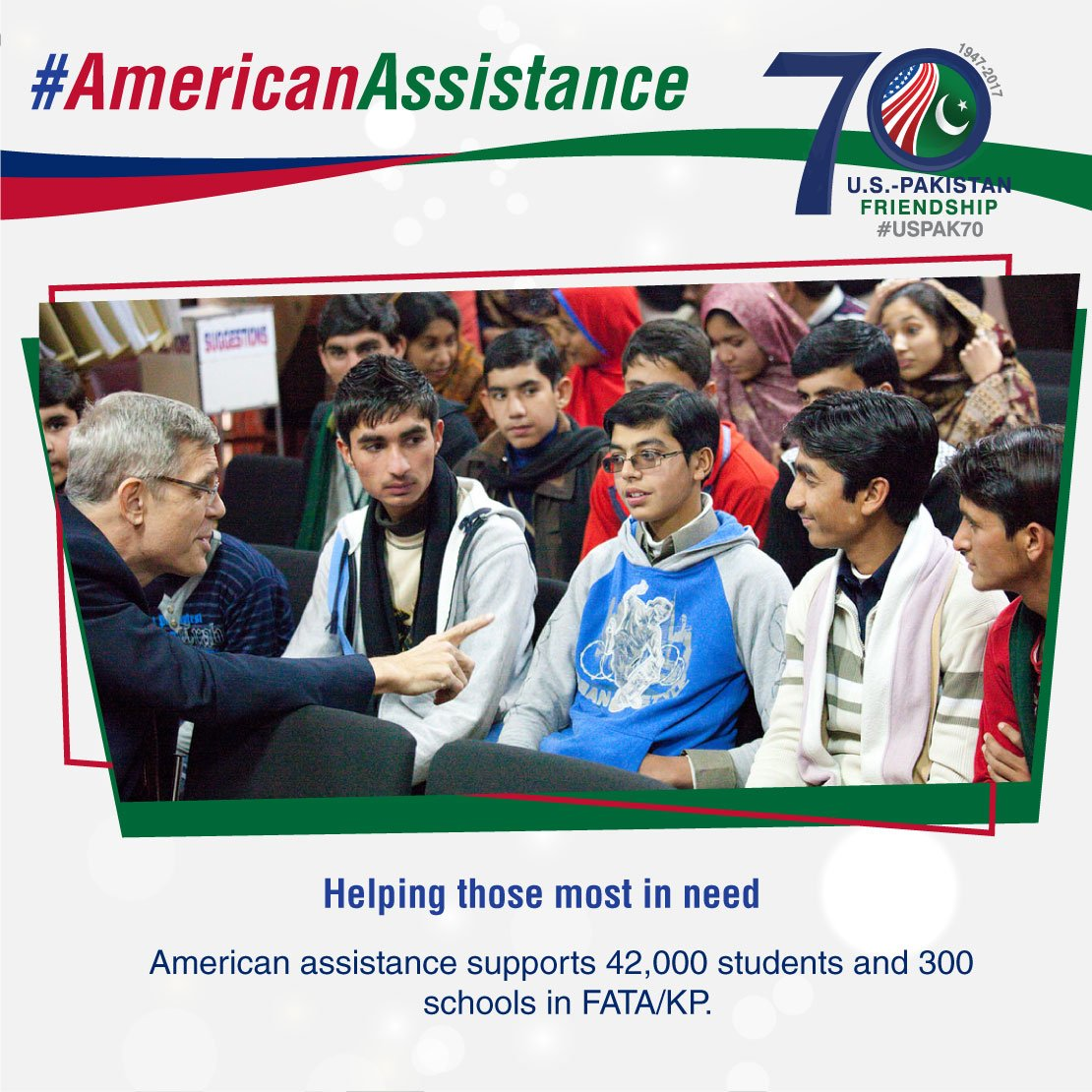 #AmericanAssistance supports 42,000 students and 300 schools in FATA/KP. #USPAK #USPAK70 #USEmbassyIsb