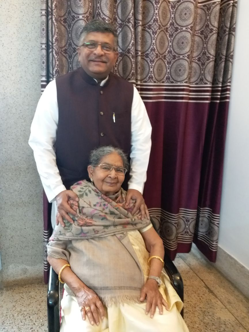 Took the blessings of my mother again before going to file my nomination for Rajya Sabha, today. The love of my 86 year old mother Mrs Bimla Prasad is my biggest strength. May God give her a long and healthy life.