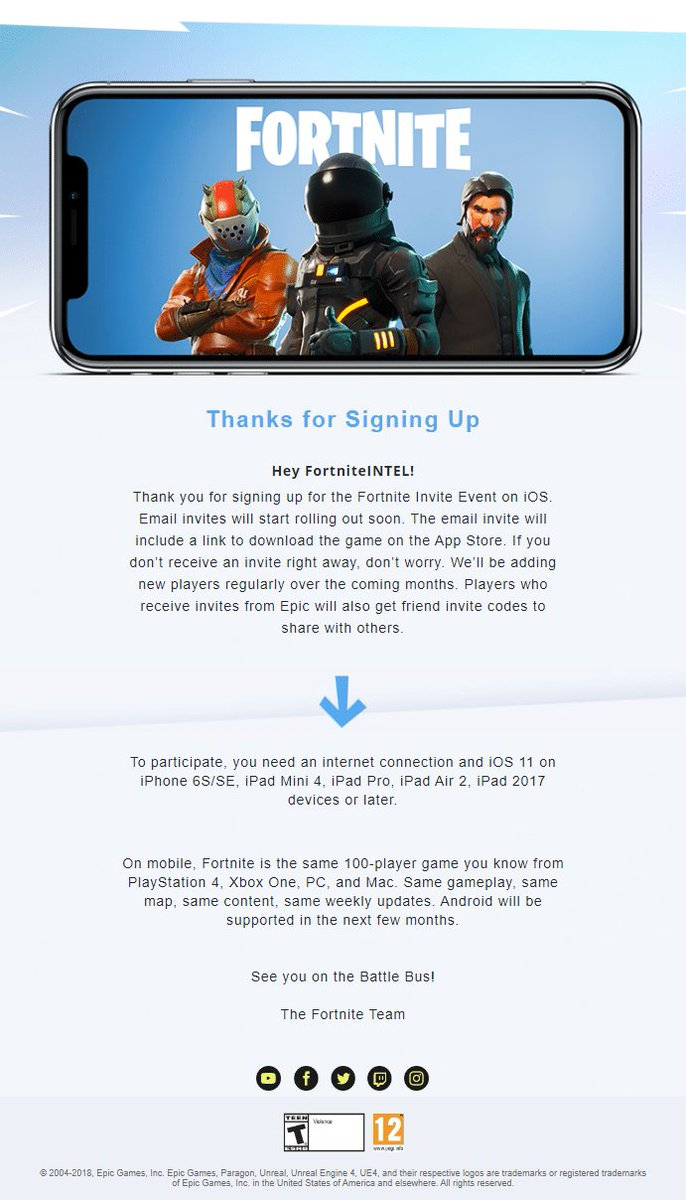 Fortnite News On Twitter Once You Ve Registered You Will Get A Confirmation Email From Epic Games More Info On How To Register For Ios Invites Https T Co 5rorxwjkmo Https T Co 95awmyajaw