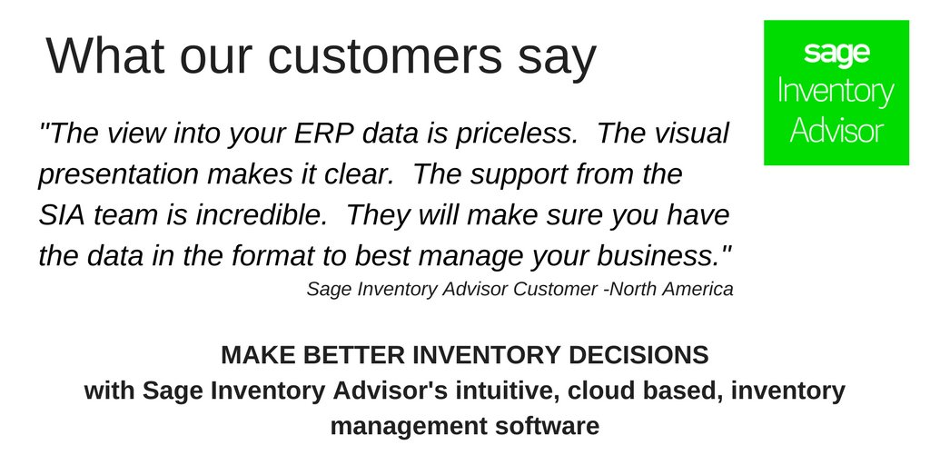 Customer feedback that makes us incredibly happy &amp; proud. Visit  https://www. inventoryadvisor.co / &nbsp;   to see how you can make better #inventory decisions with #Sage #InventoryAdvisor&#39;s intuitive, cloud based, inventory management software. #SaaS #Cloud #Proud #GoTeam<br>http://pic.twitter.com/MkkxTk91bl