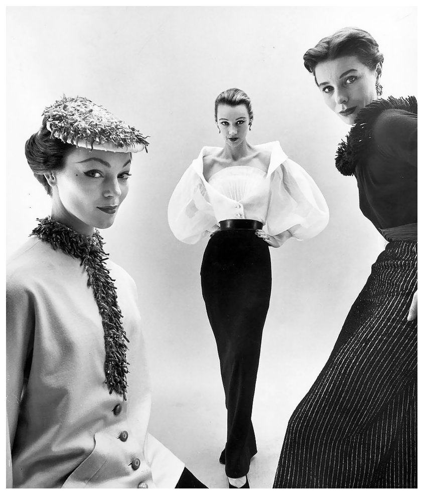 Ivy Nicholson, Sophie Malgat and Bettina Graziani in Givenchy's  interchangeable tops and skirts, photographed by Nat Farbman, 1952 R.I.P #Hubert de Givenchy <br>http://pic.twitter.com/Qxv9HpZhMC
