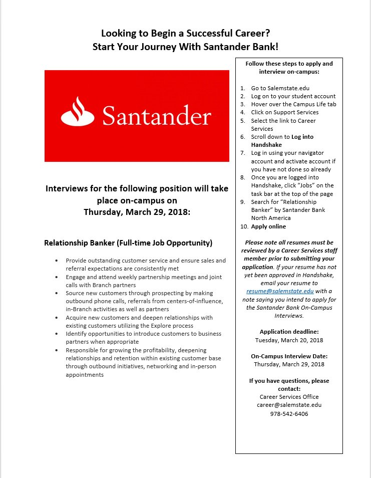 santander bank careers
