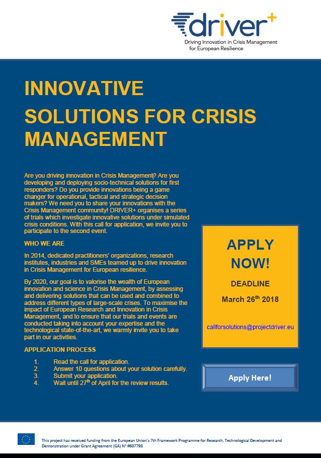 Uwe kippnich uwekippnich twitter share your initiative with the crisismanagement community dont miss this opportunity the deadline for applications is march 26th platinumwayz