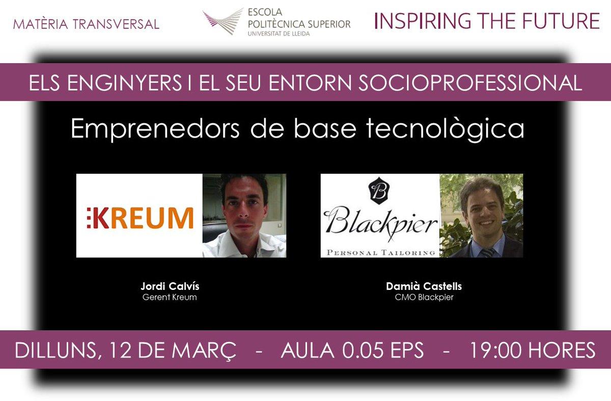 Avui, dilluns 12 de març, a les 19:00h, a l'aula 0.05 de l'@EPS_UdL, no et pots perdre la xerrada: Emprenedors de base tecnològica a càrrec de Jordi Calvís (Enginyer Industrial i Gerent @KreumEnginyers ) i Damià Castells (Enginyer  Informàtic - CMO de @Blackpier) ENTRADA LLIURE! https://t.co/YK0BdIf9mh