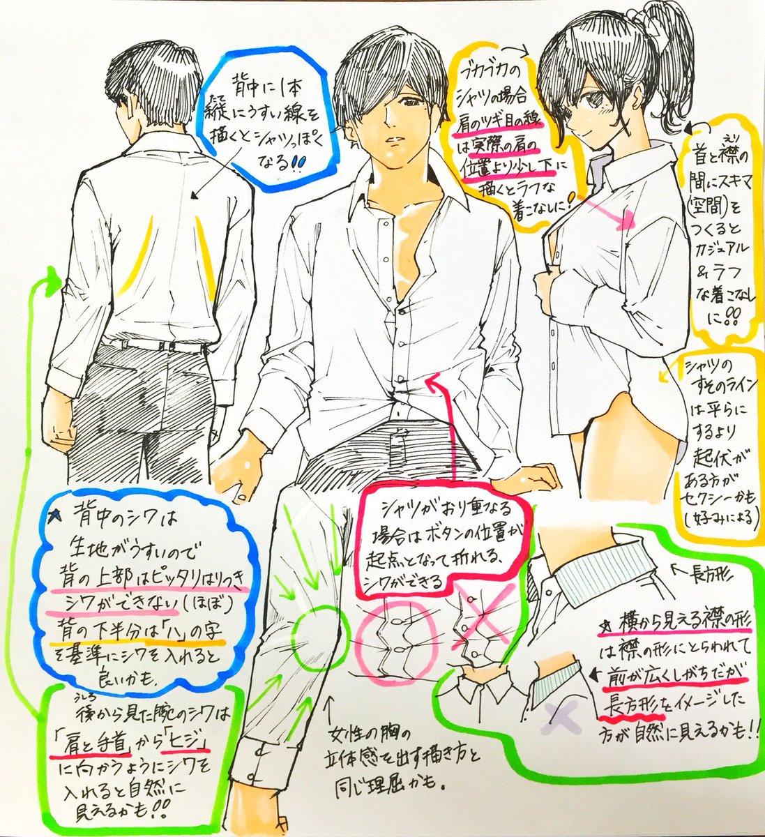 吉村拓也fanboxイラスト講座 On Twitter シャツ服の描き方