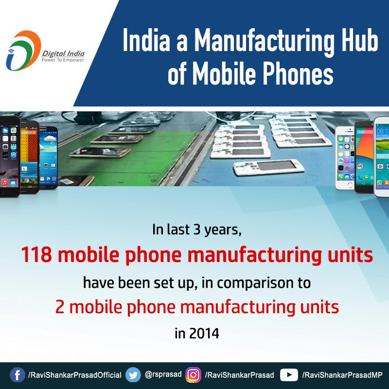With 118 manufacturing units being set up in the last 3 years, India will soon become the manufacturing hub of mobile phones. #DigitalIndia