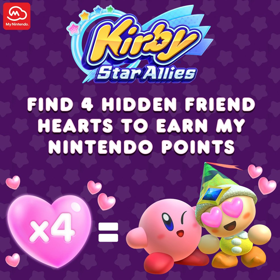 Can you help Kirby find his missing Friend Hearts? Take the challenge and #MyNintendo members can earn up to 100 Platinum Points!  For more info, visit: bit.ly/2tvKILk