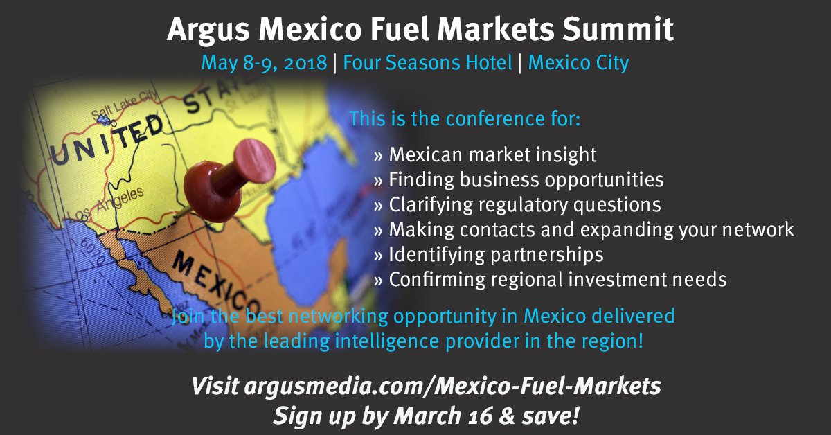 Register by Mar 16 and save #ArgusMexFuel #Argus #Energyreform #fuels #MexicoCity #Mexico https://t.co/qwCcbR25G5