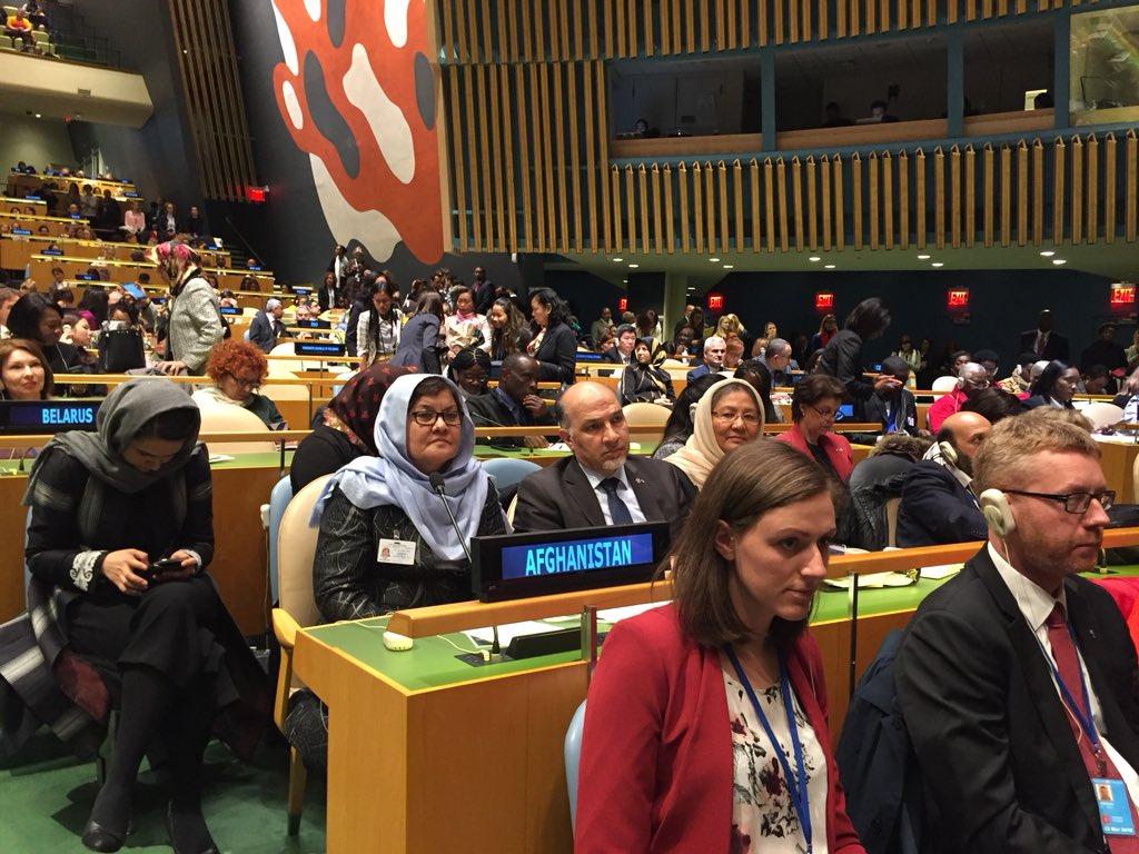 #CSW2018 kicks off with opening remarks by Geraldine Mason Irish PR Chair of CSW, #UNSG @antonioguterres, @CzechUNNY PR Marie Chatardova Prez of #ECOSOC & GA Prez @UN_PGA. #Afghanistan delegation is led by Minister of #Women Affairs Delbar Nazari. Also in delegation @SarabiHabiba