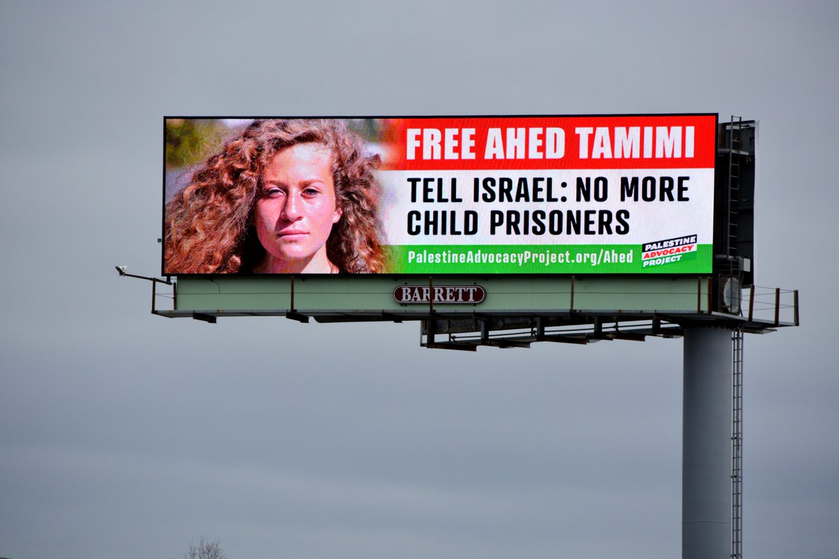 Tale of Two Billboards. The Palestine Advocacy Project just put up two Billboards on Interstate 95 in Bridgeport and Stratford CT. The power of Ahed&#39;s story will move you. Learn more here:  https://www. palestineadvocacyproject.org/ahed/  &nbsp;   #ahed #AhedTamimi #AhedTamimiTrial  #ahed_tamimi <br>http://pic.twitter.com/DFLxCcsAY5