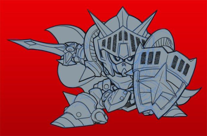 ちょっと遅くなってしまいましたがおめでとうございます 急ぎでナイトガンダム描きました これからもSDシリーズが健やかに発展しますように! #SDガンダムの日