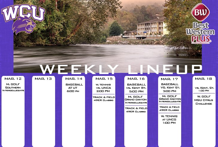 WCU Athletics Weekly Lineup (thru 3-18-18)