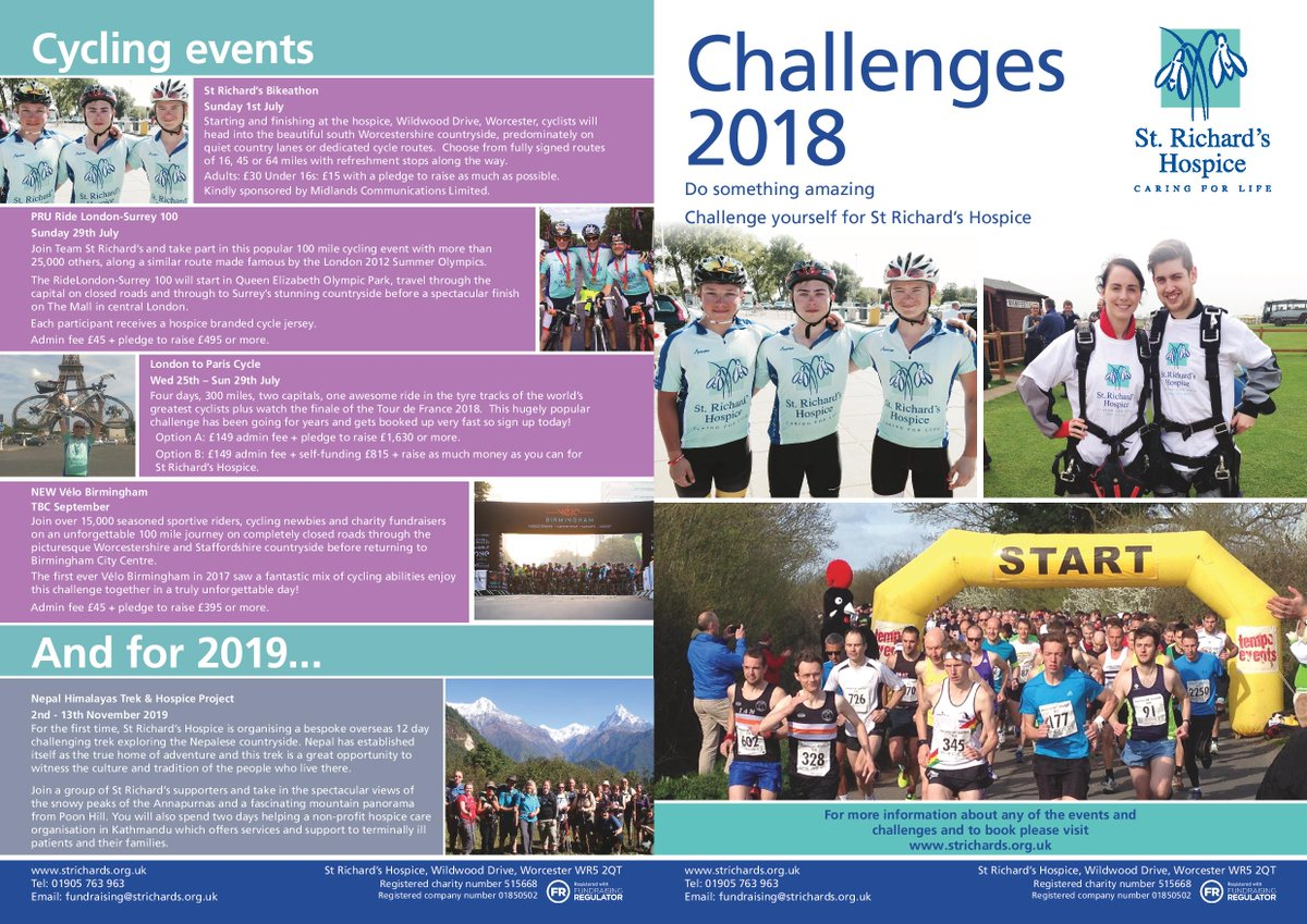 Need to have something to get fit for? Take a look at our challenges!strichards.org.uk