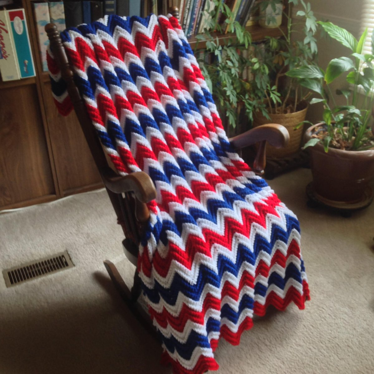 Red/White/Blue Chevron Afghan_Patriotic Hand Crocheted Throw_Mid Size Blanket_Free Shipping_Machine Wash/Dry_Ready to Ship_Made in USA  http:// tuppu.net/b03b595d  &nbsp;   #YarnQueens #Etsy #MilitaryGift <br>http://pic.twitter.com/Paf4OgtlK8
