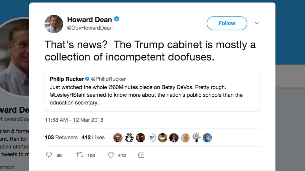 Howard Dean: Trump's Cabinet full of 'incompetent doofuses' https://t.co/efS9b5zRRL