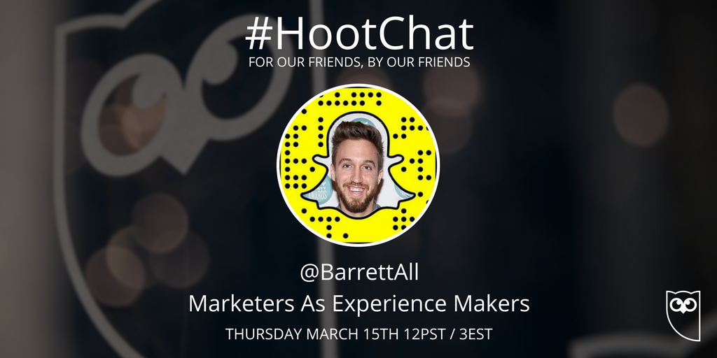 Attention, friends! #HootChat is back this Thursday! Well have @BarrettAll and our friends at @AdobeExpCloud joining us this week to discuss the topic of Marketers as Experience Makers. Set a reminder in your calendar and join the discussion with us!