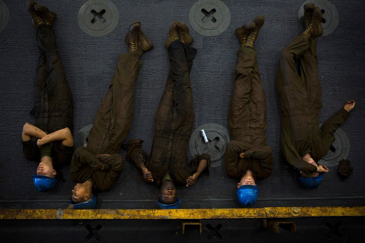 Learn from the best.  Marines can sleep anywhere.  #NationalNappingDay