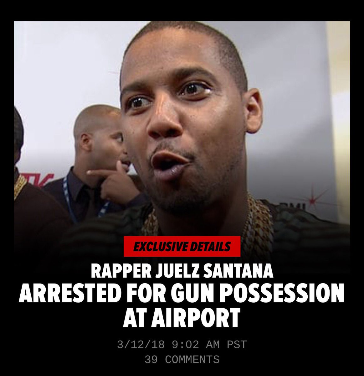 #JuelzSantana surrendered to the cops. He was arrested today at 1 am. Santana was booked for unlawful possession of a weapon, possession of a controlled dangerous substance and an unspecified federal warrant 🤕 #MyMixtapez