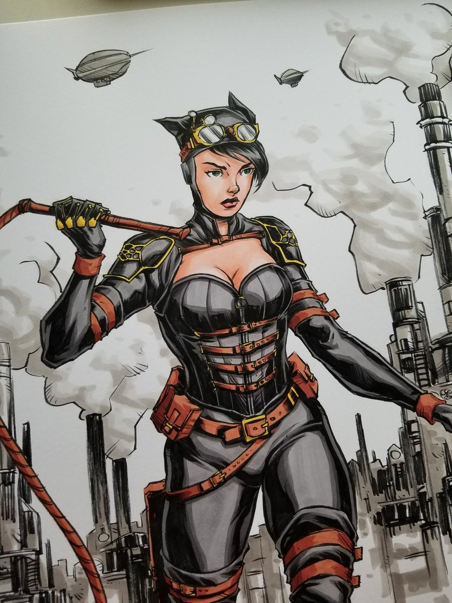 #Illustration Awesome of the Day: #Steampunk #Catwoman #Artwork #WonderCon #WCA2018 by @AlbertNguyenArt #SamaArt