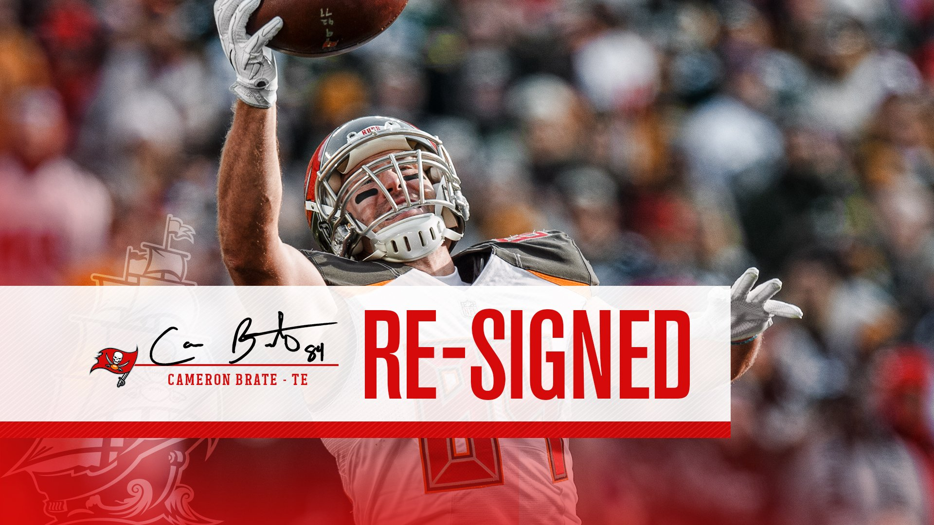 We have agreed to terms on a 6-year contract with TE Cameron Brate!    �� » https://t.co/nwzTyKNLT0  #GoBucs☠️ https://t.co/kB8qbEingM