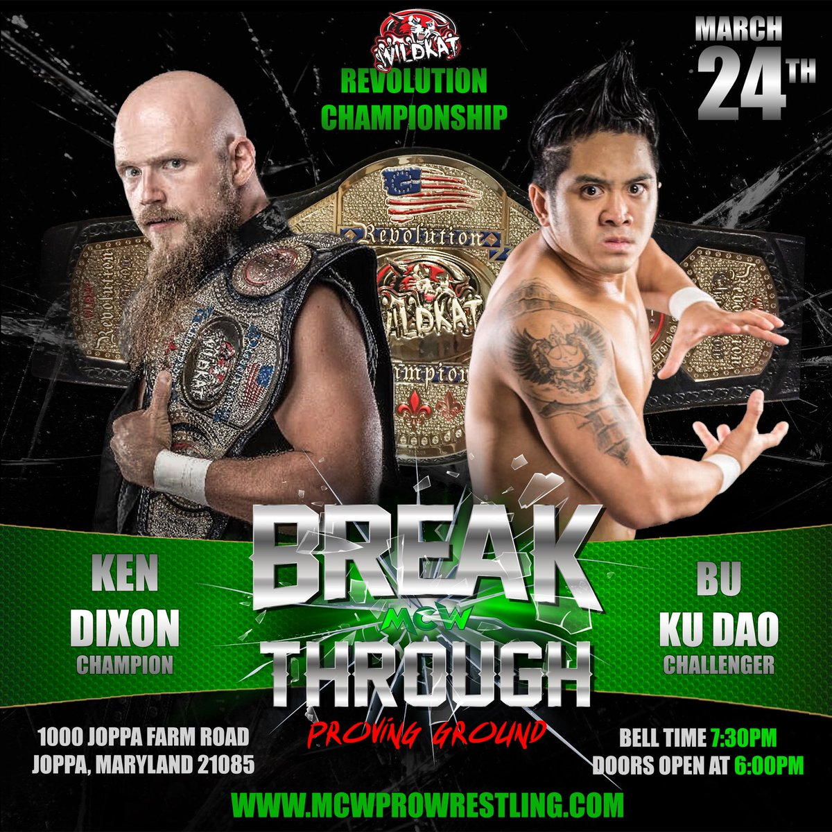 As announced during the interview between @WildKatSports Head Trainer @LukeHawx504 &amp; #MCW GM @PSPhenom, @The_KenDixon will defend the Wildkat Revolution Title against #TheSituAsian @BuKuDaoOrDie on Sat 3/24 at #MCWBreakthrough: Proving Ground! #RAW   http:// MCWProWrestling.com  &nbsp;   4 tix!<br>http://pic.twitter.com/a9IujAERGz