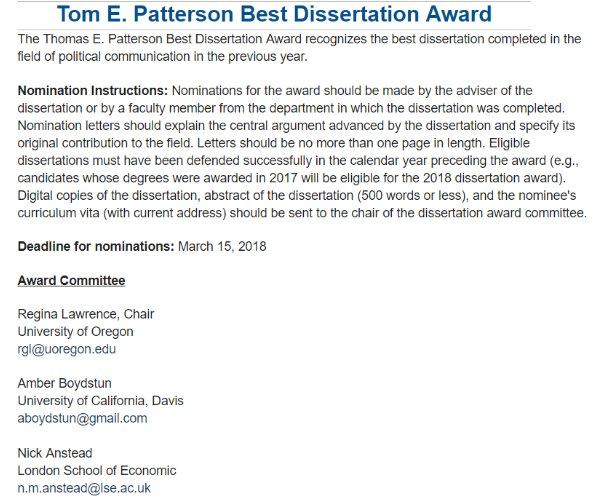 Apsa best dissertation