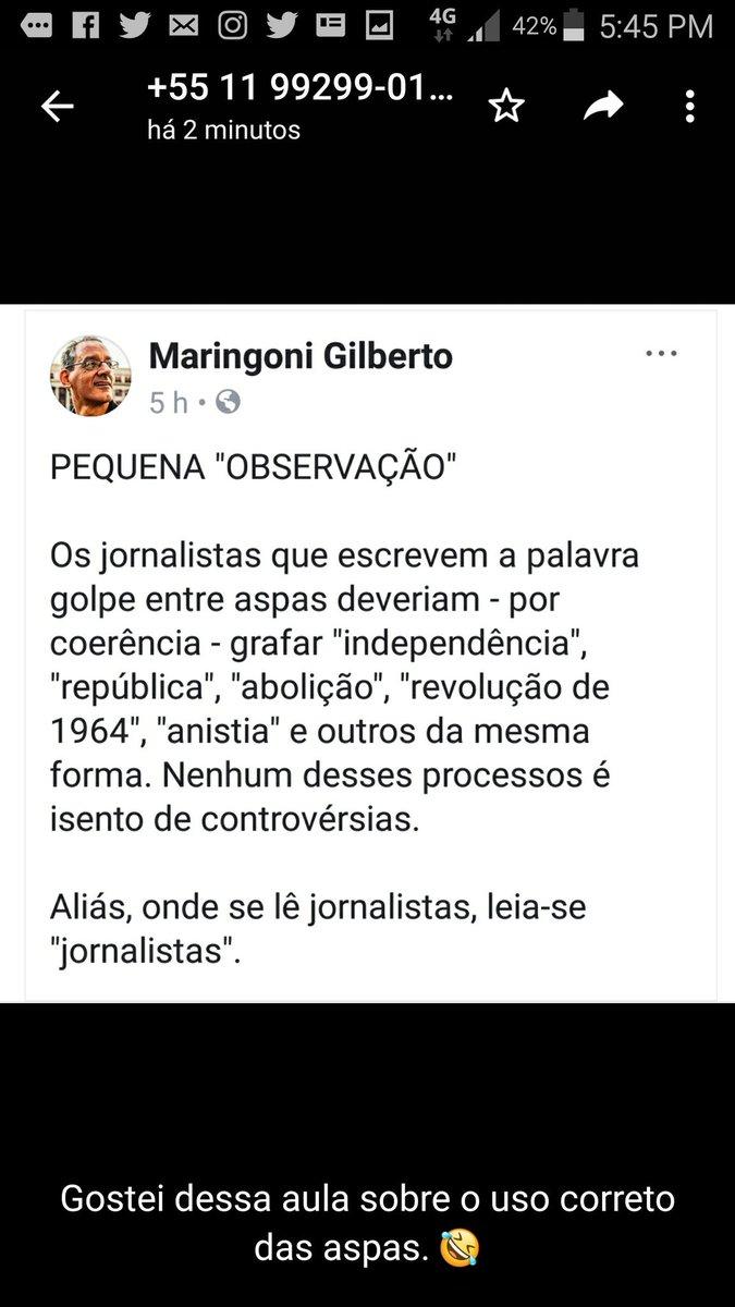 Um jornalismo entre aspas. O mesmo que chamava golpe de 64 de 'revolução'... E que chama Maduro de 'ditador', mas andava de braços dados com 'presidentes' da ditadura brasileira. Maringoni dá uma aula (sem aspas) pros 'isentões' (entre aspas).