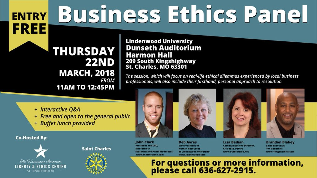 To 12 45p In St Charles On Thurs March 22 Harmon Hall Featuring Local Business Leaders Lindenwoodu Psbe Lindenwood Hammondinst Libertyethics