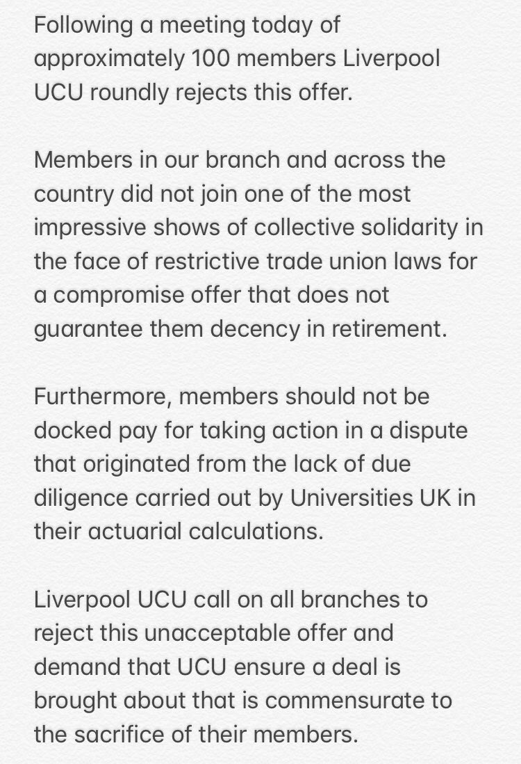 . @UCUSOAS members support @ULivUCU2 statement to reject @ucu deal #NoCapitulation