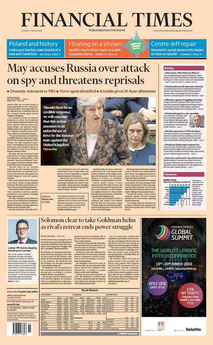 FINANCIAL TIMES FRONT PAGE:  May accuses...