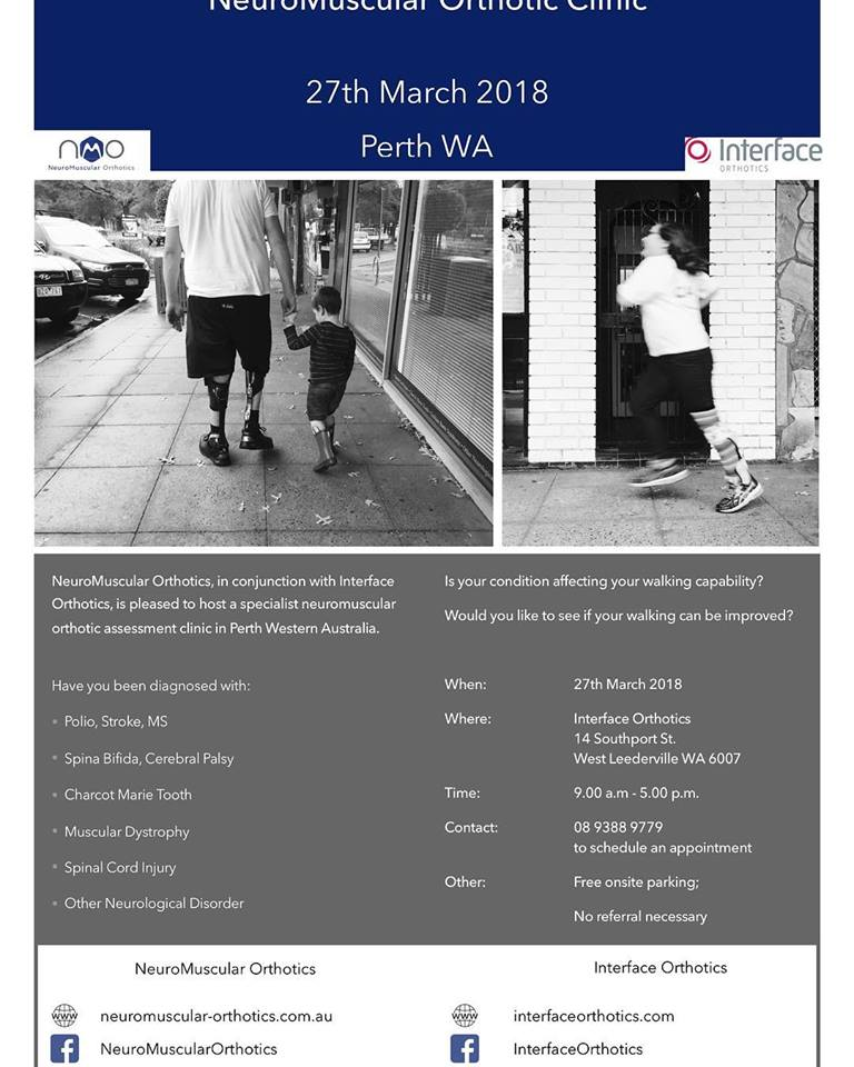 Do you have a #neurological disorder that is it affecting your walking efficiency? Would you like to see if you can #walk better? NeuroMuscular Orthotics and Interface Orthotics are hosting a #neuromuscular #orthotic clinic in #Perth on the 27th March 2018.