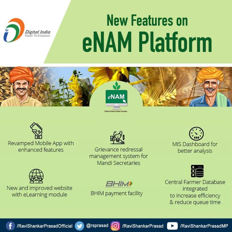 New features of eNAM platform for farmers will improve their experiences to sell their produce digitally. #DigitalIndia