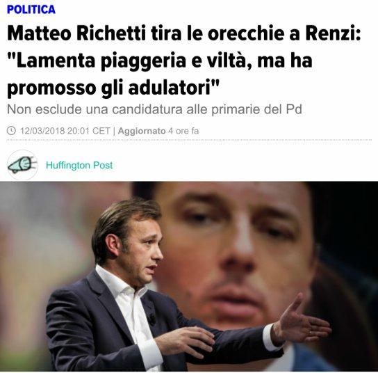 #richetti politico senza spina dorsale, per 5 anni appoggia ogni nefandezza renziana, ora fà il moralista #patetici  - Ukustom