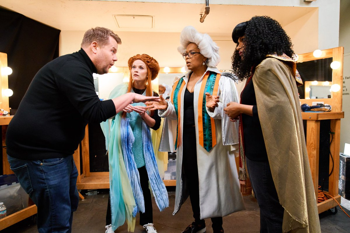 Tonight on the #LateLateShow, @WrinkleInTime gets the 4D treatment courtesy of @RWitherspoon, @Oprah, @mindykaling and cinematic visionary @JKCorden!