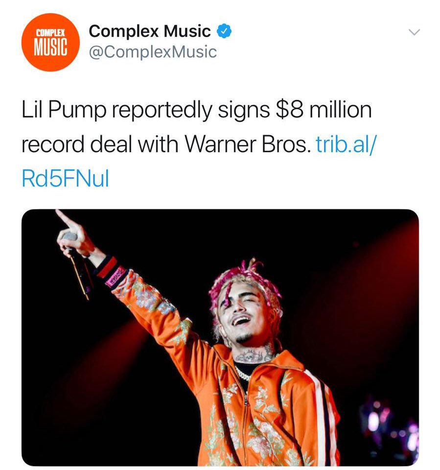 #LilPump signed a 8 Million record deal with #WarnerBros 💰 ..... Good or bad move for Pump? 🤔 #MyMixtapez