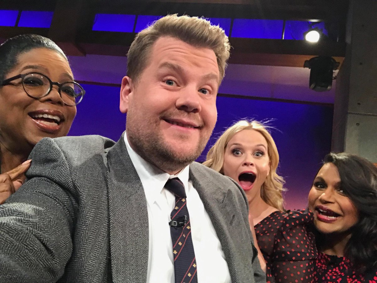 Tune into @JKCorden @latelateshow tonight at 12:37/11:37c to catch this crew @Oprah @mindyKaling. #WrinkleInTime. Thanks for having us James!
