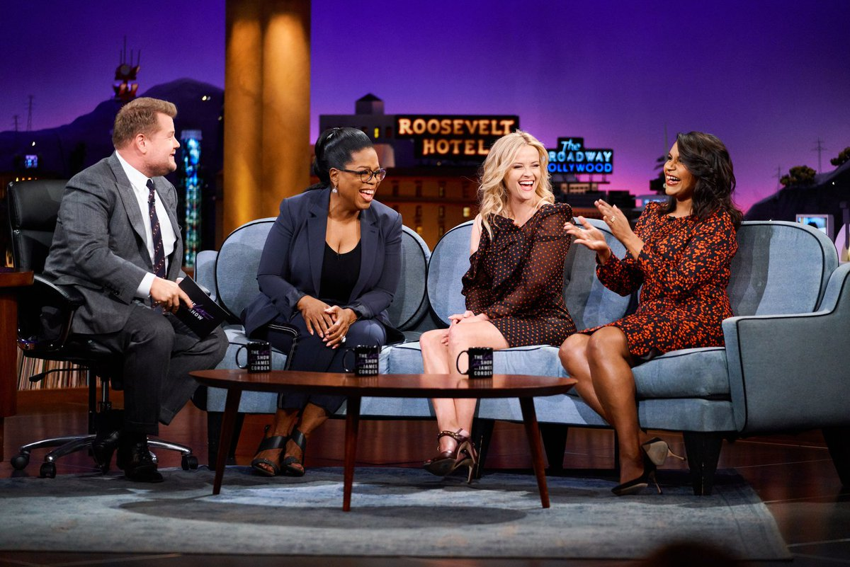 Not to brag, but weve got @Oprah, @mindykaling and @RWitherspoon from a #WrinkleInTime. Get to the couch because the #LateLateShow starts now.