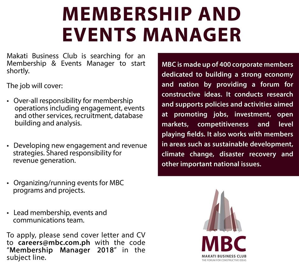 makati business club on twitter mbccareers is hiring check out httpstcoecgx8dfy5j for more details on job opportunities