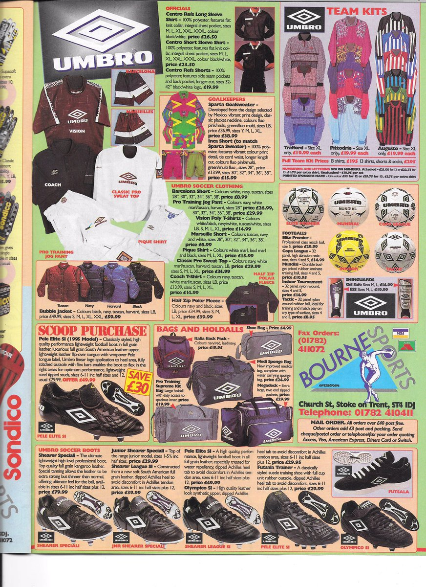 """The Glove Bag on Twitter: """"1996 Bourne Sports Catalogue Pages.… """""""