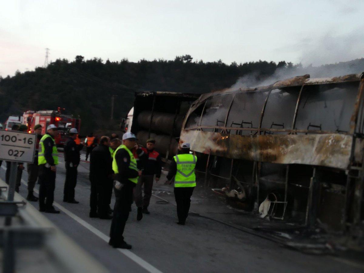 В Турции автобус  полностью сгорел, 10 человек погибло