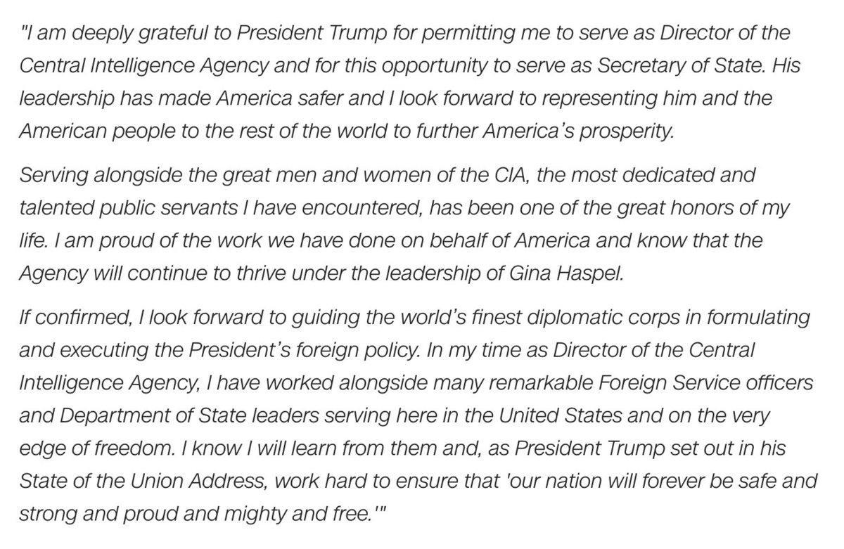 President Trump is tapping CIA Director Mike Pompeo to be the new secretary of state, replacing Rex Tillerson. Read Pompeos full statement: cnn.it/2p7cpoq
