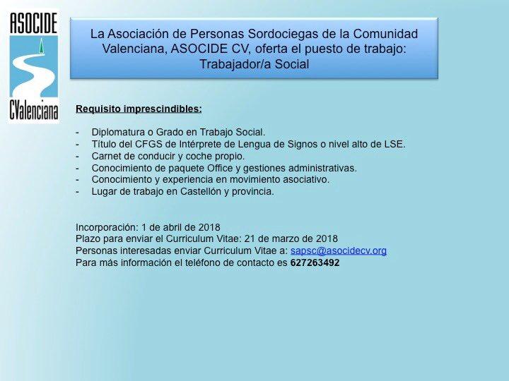 ASOCIDE-CV busca Trabajador Social para Castellón DYK8Bl_WAAAKuF-
