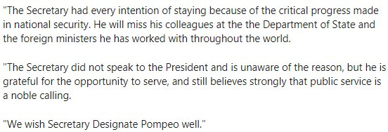 WOW: Tillerson had 'every intention of staying... did not speak to the President and is unaware of the reason,' according to Under Sec of State Goldstein.