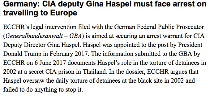 New CIA Director GIna Haspel (announced today) criminal complaint https://t.co/jlLhBHSKqF