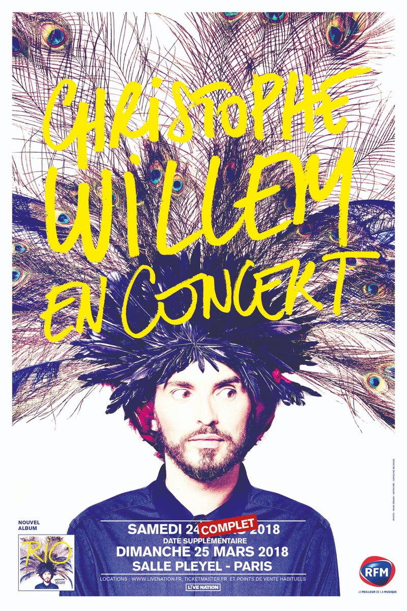 @cwillem samedi 24 et dimanche 25 mars en concert #sallepleyel  Il reste quelques places à prendre ici >>>  https://t.co/SwOqxQUGcM Présenté par @LivenationFR  #christophewillem #pop #concert